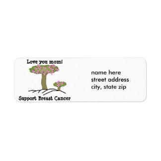 Etiqueta de dirección del cáncer de pecho del árbo
