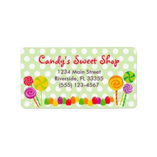 Etiqueta de dirección del caramelo