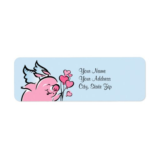 Etiqueta de dirección del cerdo de la tarjeta del