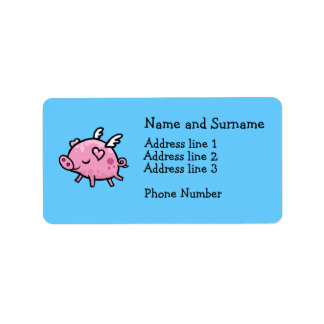 Etiqueta de dirección del cerdo del vuelo