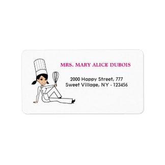 Etiqueta de dirección del chica de la cocina