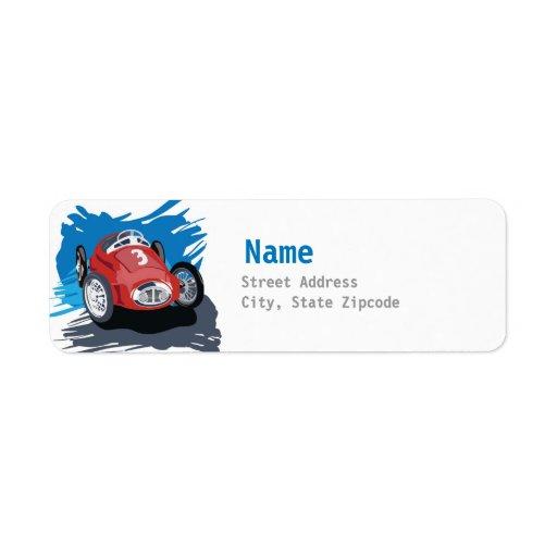 Etiqueta de dirección del coche de carreras