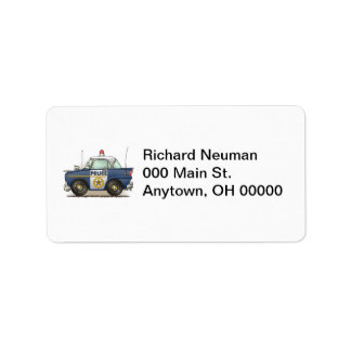 Etiqueta de dirección del coche del poli de