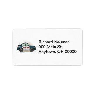 Etiqueta de dirección del coche del poli del coche