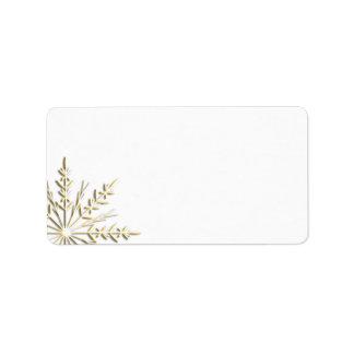 Etiqueta de dirección del copo de nieve del oro