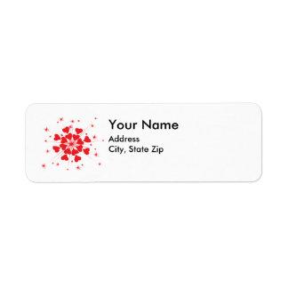 etiqueta de dirección del corazón de las tarjetas