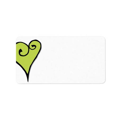 Etiqueta de dirección del corazón del verde del ad