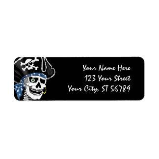 Etiqueta de dirección del cráneo del pirata