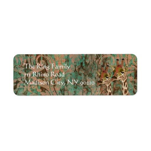 Etiqueta de dirección del damasco de las jirafas d