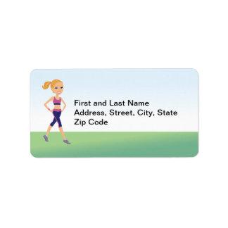 Etiqueta de dirección del dibujo animado del chica