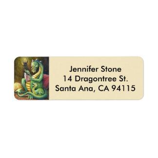 Etiqueta de dirección del dragón de los cuentos de