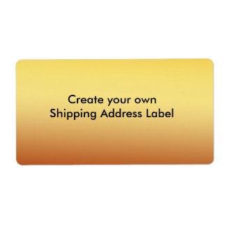 Etiqueta de dirección del envío del oro