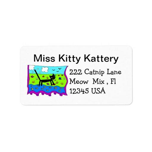 Etiqueta de dirección del gato