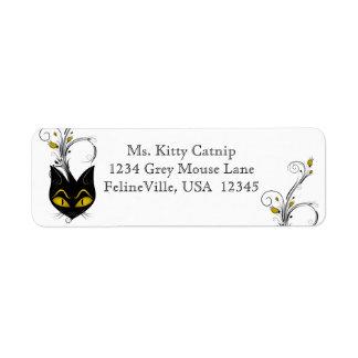 Etiqueta de dirección del gato negro
