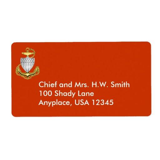 Etiqueta de dirección del guardacostas principal
