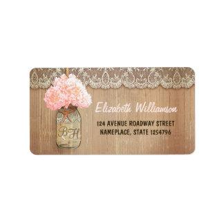 etiqueta de dirección del hydrangea del rosa del
