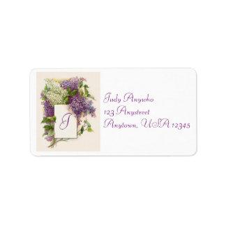Etiqueta de dirección del Hydrangea del vintage
