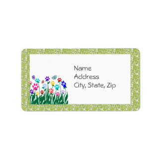 Etiqueta de dirección del jardín de la impresión