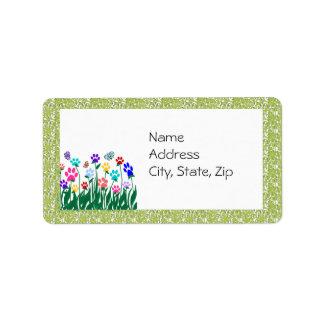 Etiqueta de dirección del jardín de la impresión d