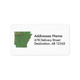 Etiqueta de dirección del mapa de Arkansas
