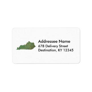 Etiqueta de dirección del mapa de Kentucky