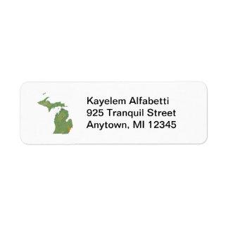 Etiqueta de dirección del mapa de Michigan