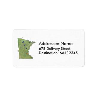 Etiqueta de dirección del mapa de Minnesota
