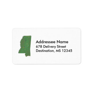 Etiqueta de dirección del mapa de Mississippi