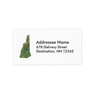 Etiqueta de dirección del mapa de New Hampshire