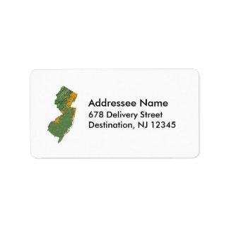 Etiqueta de dirección del mapa de New Jersey