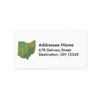 Etiqueta de dirección del mapa de Ohio