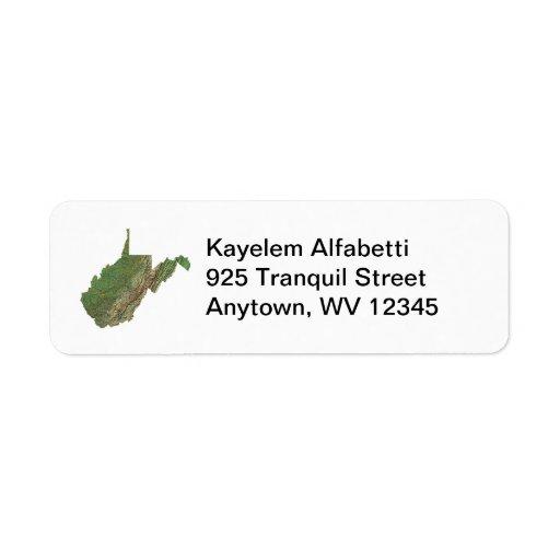 Etiqueta de dirección del mapa de Virginia Occiden