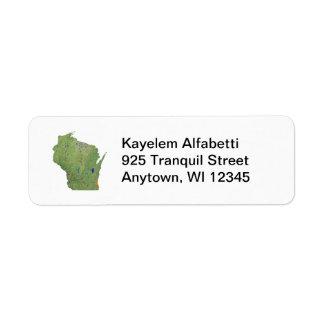 Etiqueta de dirección del mapa de Wisconsin