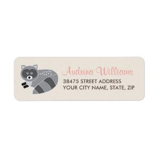 Etiqueta de dirección del mapache del arbolado