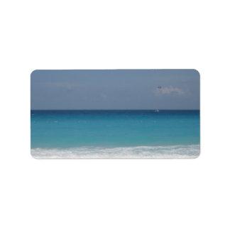 Etiqueta de dirección del océano de Cancun