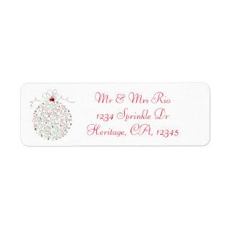 Etiqueta de dirección del ornamento del navidad