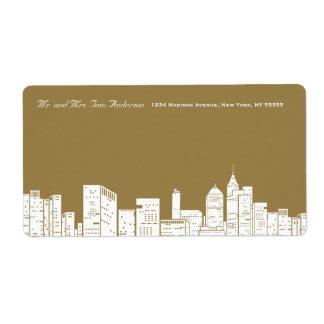 Etiqueta de dirección del oro de Nueva York del in