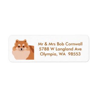 Etiqueta de dirección del perro de Pomeranian