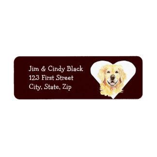Etiqueta de dirección del perro del golden