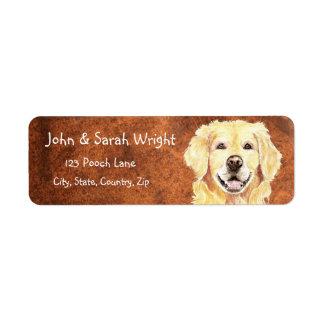 Etiqueta de dirección del perro del golden retriev