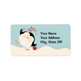 Etiqueta de dirección del pingüino del navidad