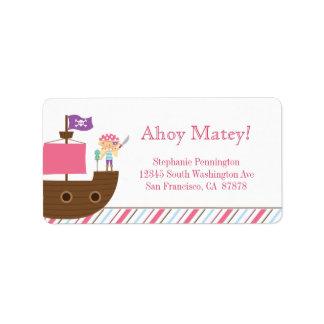 Etiqueta de dirección del pirata del chica rosado