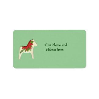 Etiqueta de dirección del Poinsettia del navidad