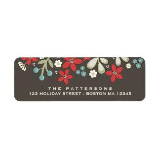 Etiqueta de dirección del Poinsettia del navidad d