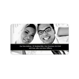 Etiqueta de dirección del recién casado de la MOD