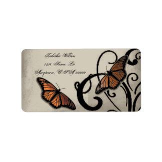Etiqueta de dirección del remolino de la mariposa