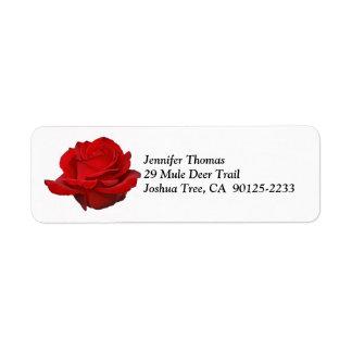 Etiqueta de dirección del rosa rojo