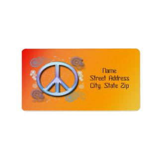 Etiqueta de dirección del signo de la paz