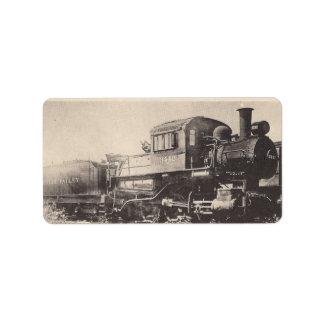 Etiqueta de dirección del tren de ferrocarril de S