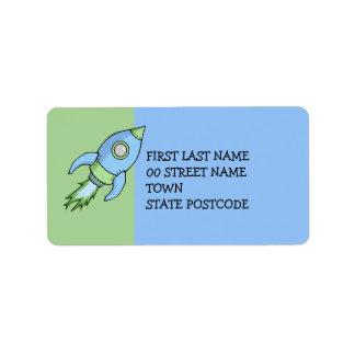 Etiqueta de dirección del verde azul de Rocket
